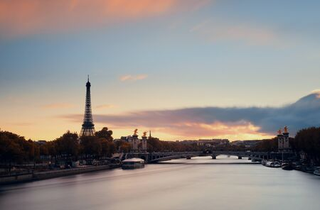 alexandre: Paris River Seine with Eiffel tower and Alexandre III bridge at sunset