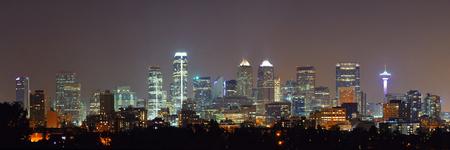 calgary: Calgary skyline in Alberta at night, Canada.
