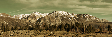 grassland: Grassland and snow mountain panorama with cloud in Yosemite. Stock Photo