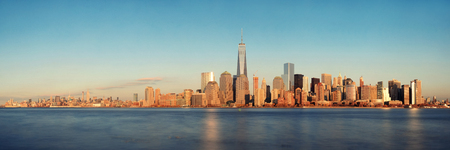 hudson river: New York City skyline panorama with skyscrapers over Hudson River at sunset viewed from New Jersey