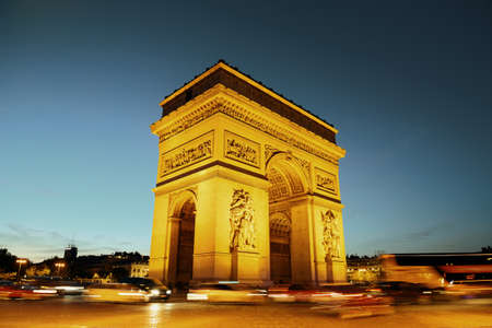 paris france: Arc de Triomphe and street view at night in Paris, France.