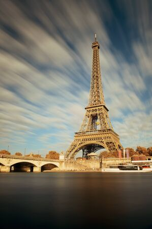 steel tower: Eiffel Towerand River Seine in Paris, France. Stock Photo