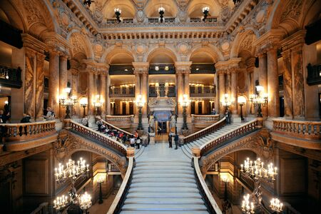 palais garnier: PARIS, FRANCE - MAY 13: Palais Garnier interior view on May 13, 2015 in Paris. With the population of 2M, Paris is the capital and most-populous city of France