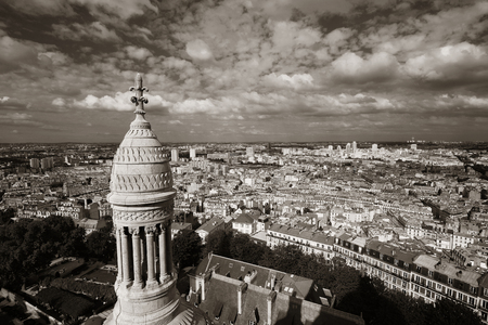 coeur: View from top of Sacre Coeur Cathedral in Paris, France. Stock Photo