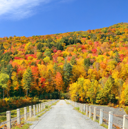 america countryside: Countryside view of Stowe with Autumn mountains and forest Stock Photo