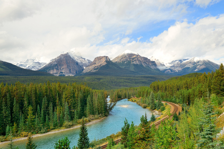 banff national park: Morant Curve with river and railway in Banff National Park in Canada Stock Photo