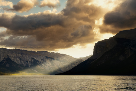 banff national park: Lake sunrise with cloud in Banff National Park, Canada Stock Photo