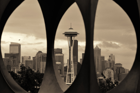 space needle: Seattle downtown through a sculpture at Kerry Park