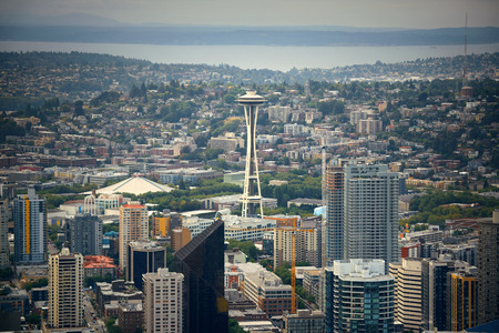 space needle: Seattle rooftop panorama view with urban architecture. Stock Photo