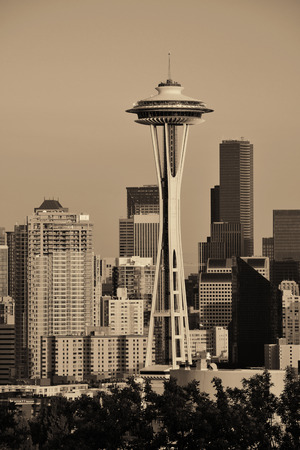 space needle: Seattle city skyline at sunset with urban office buildings viewed from Kerry Park. Stock Photo