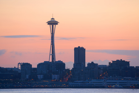 in wa: SEATTLE, WA - AUG 14: Space Needle at sunrise on August 14, 2015 in Seattle. Seattle is the largest city in both the State of Washington and the Pacific Northwest region of North America Editorial