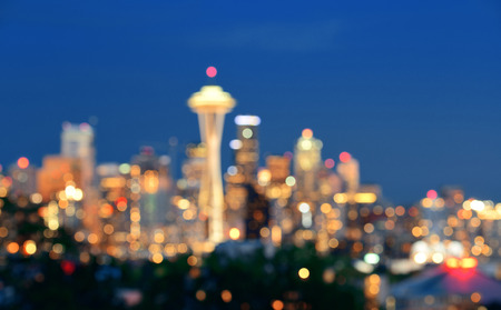 city park skyline: Seattle city skyline at night with urban office buildings viewed from Kerry Park. Stock Photo