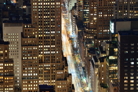 office building: New York City Fifth Avenue rooftop view at night