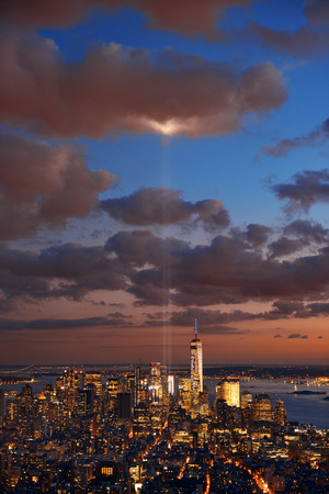 tribute: New York City downtown skyline view at night with September 11 tribute light. Stock Photo