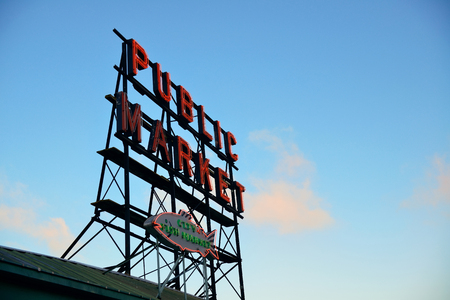 public market: SEATTLE, WA - AUG 14: Public Market sign in downtown on August 14, 2015 in Seattle. Seattle is the largest city in both the State of Washington and the Pacific Northwest region of North America Editorial