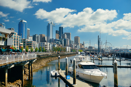 in wa: SEATTLE, WA - AUG 14: Downtown waterfront view on August 14, 2015 in Seattle. Seattle is the largest city in both the State of Washington and the Pacific Northwest region of North America Editorial