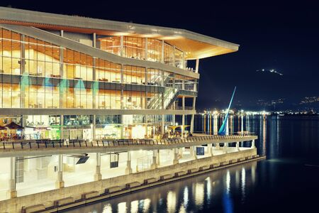 ethnically diverse: VANCOUVER, BC - AUG 17: Canada Place at waterfront at night on August 17, 2015 in Vancouver, Canada. With 603k population, it is one of the most ethnically diverse cities in Canada.