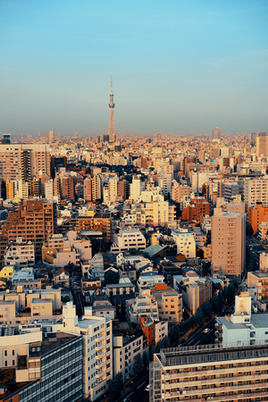 Tokyo urban skyline rooftop view with Skytree, Japan. Stock Photo