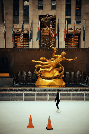 declared: NEW YORK CITY, NY - MAR 30: Rockefeller Plaza ice rink on March 30, 2014 in New York City. Declared a National Historic Landmark in 1987, it is a complex of 19 commercial buildings