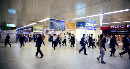 railway transportations: KYOTO, JAPAN - MAY 18: Subway station interior on May 18, 2013 in Kyoto. Former imperial capital of Japan for more than one thousand years, it has the name of City of Ten Thousand Shrines.