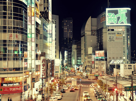 TOKYO, JAPAN - MAY 13: Street view at night on May 13, 2013 in Tokyo. Tokyo is the capital of Japan and the most populous metropolitan area in the world Editorial