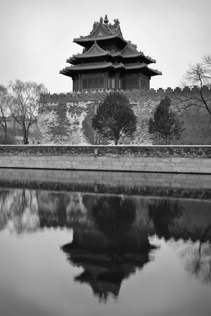 black history: Corner Tower in black and white in Imperial Palace in Beijing, China