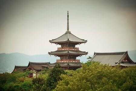 buliding: Pagoda tower in Jishu Jinja Shrine in Kyoto, Japan.