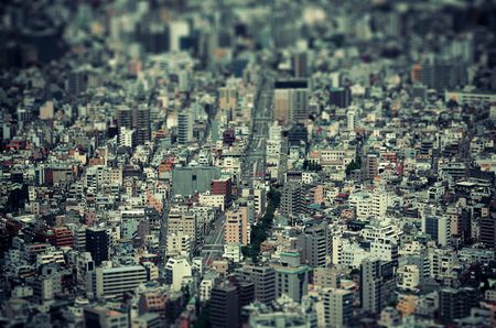 Tokyo urban rooftop view background tilt-shift effect, Japan.