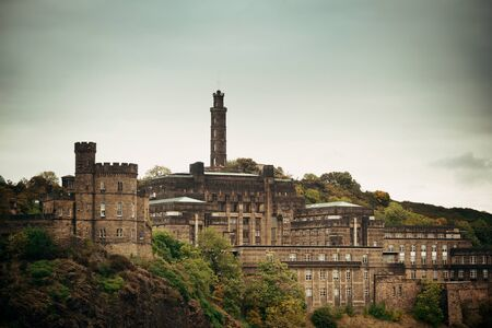 monument historical monument: Calton Hill with Nelson monument in Edinburgh, United Kingdom.