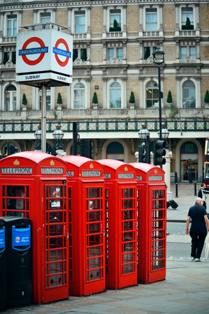 telephone box: LONDON, UK - SEP 27: London Street view with iconic telephone box on September 27, 2013 in London, UK. London is the worlds most visited city and the capital of UK. Editorial
