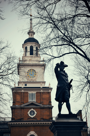 history building: John Barry statue and Independence Hall as the historical Landmark in Philadelphia