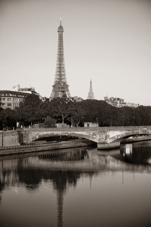 seine: Eiffel Tower and bridge over River Seine.