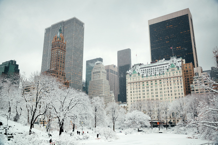Central Park winter with skyscrapers in midtown Manhattan New York City