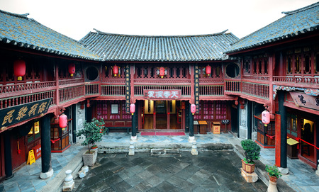 chinese courtyard: Local Bai style courtyard in Dali old town. Yunnan, China.