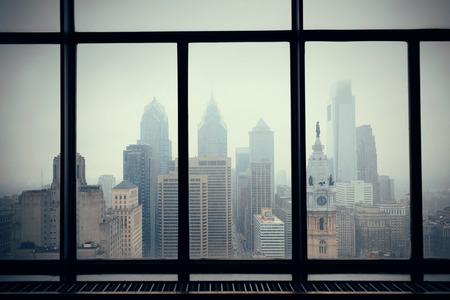 through window: Philadelphia city rooftop view through window Stock Photo