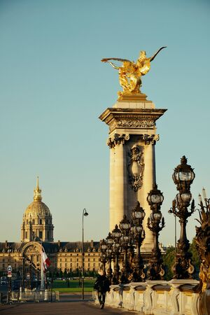 alexandre: Alexandre III bridge with sculpture and vintage lamp post in Paris, France.