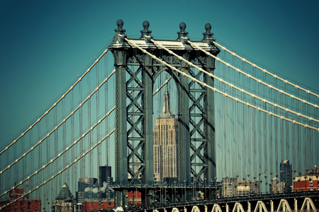Manhattan Bridge closeup in New York City