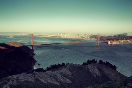 steel tower: San Francisco Golden Gate Bridge viewed from mountain top Stock Photo