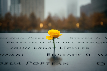september 11: NEW YORK CITY - NOV 12: September 11 memorial in a foggy day on November 12, 2014 in Manhattan, New York City. With population of 8.4M, it is the most populous city in the United States.