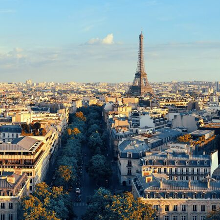 Paris rooftop view skyline and Eiffel Tower in France. Stock Photo