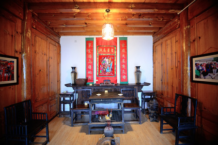 history building: Local Bai style architecture interior in Dali old town. Yunnan, China.