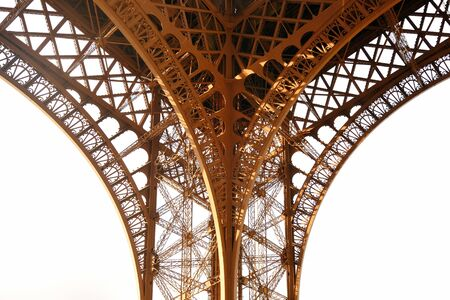 steel tower: Pattern in detail from closeup view of Eiffel Tower.