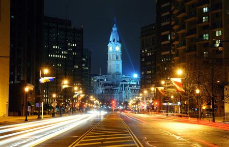 cityhall: Philadelphia City Hall and street view at night Stock Photo