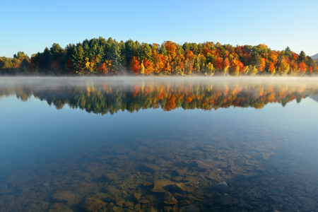 new scenery: Lake fog with Autumn foliage and mountains with reflection in New England Stowe