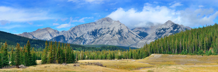 banff national park: Landscape panorama of Banff National Park in Canada with snow capped mountain