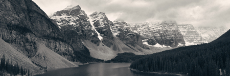snow capped mountain: Moraine Lake with snow capped mountain of Banff National Park in Canada