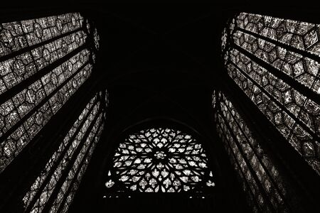 extensive: PARIS, FRANCE - MAY 13: Stained glass pattern in Sainte Chapelle on May 13, 2015 in Paris. It has one of the worlds most extensive 13th-Century stained glass collection.