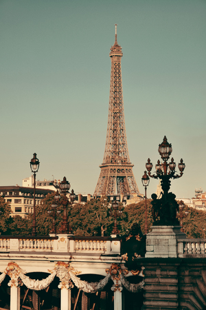 alexandre: Alexandre III bridge and Eiffel Tower in Paris, France. Stock Photo