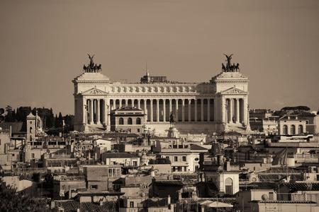 vittorio emanuele: Monumento Nazionale a Vittorio Emanuele II as the famouse landmark historic architecture in Rome Italy in black and white Stock Photo