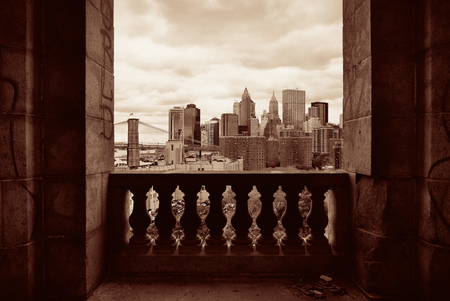 balcony: New York City downtown architecture skyline through abandoned balcony. Stock Photo